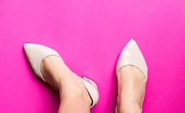 Free Pair Of Female Shoes With Toes On Pink Background. Free Copy Space. Overhead Shot Of Elegant Shoes. Top View. Concept Of Fashion Stock Photo - 178418780