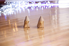 Free Pair Of Gold Elegant Women`s High-heeled Shoes. Royalty Free Stock Photos - 83483328
