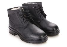 Pair Of Leather Black Boots. Stock Photos
