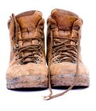 Pair Of Old Worn Walking Boots Royalty Free Stock Photography