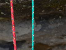 Free Pair Of Red And Green Climb Ropes In Detail. Used Light Rope Royalty Free Stock Photos - 157248528