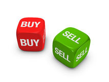 Pair Of Red And Green Dice With Buy, Sell Sign Royalty Free Stock Photos