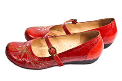 Pair Of Red Embroided Shoes Royalty Free Stock Photo