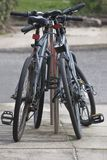 Pair Of Secured Bicycles Stock Image