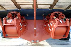 Free Pair Of Waterjets In The Stern Of A Coastguard Docked In Drydock. Stock Images - 106867934