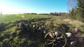 Pair Of Wooden Wheels Of Horse Carriage, Time Lapse 4K Royalty Free Stock Photos