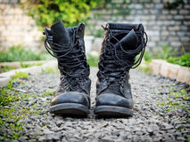 Pair of old army boots Stock Images