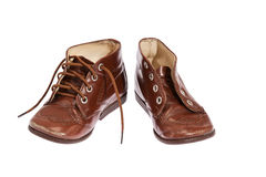 Pair of old boy shoes (clipping path) Stock Photos