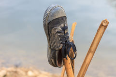 Pair old and dirty sneakers Royalty Free Stock Photo