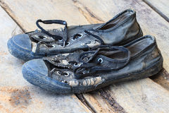 Pair old and dirty sneakers Stock Image