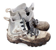 Pair of old dirty trekking boots Royalty Free Stock Photo