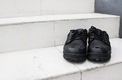 Pair of old dirty work boots Stock Image