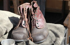 Pair of old-fashioned boots Stock Photo