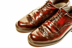 Pair of old-fashioned brown shoes isolated Royalty Free Stock Photos