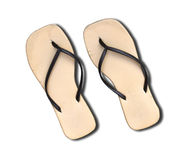 Pair of old flip flop sandals isolated on white. Royalty Free Stock Photography