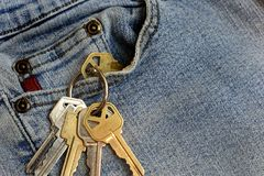 Pair of Old Jean with Set of House Keys. A close up image of old faded blue jeans and set of house keys Royalty Free Stock Photos