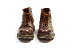 Pair of old leather shoes Royalty Free Stock Photos