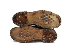 Pair of old leather shoes Stock Photo