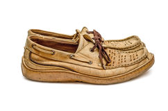 Pair of old  moccasin side view Royalty Free Stock Photos
