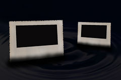 The pair of old photo frames horizontally. Royalty Free Stock Photos