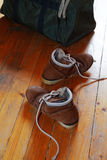 Pair of old shoes and bag Royalty Free Stock Images