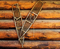 Pair of old snow shoes on a wooden wall Royalty Free Stock Image