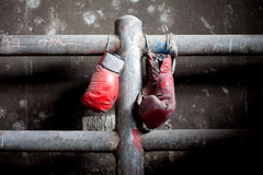 Pair of old and tattered boxing gloves. A pair of well used, dusty Muay Thai boxing gloves hanging against a grungy boxing ring Stock Image