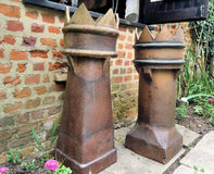 A Pair of Old Terracotta Chimney Stock Photography