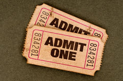 Pair of old torn admit one movie tickets Royalty Free Stock Photo