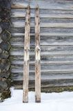 Pair of old wooden skis royalty free stock photo