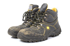 Pair of old work boots Royalty Free Stock Image