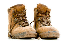 Pair of old worn walking boots Royalty Free Stock Images