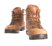 Pair of old worn walking boots Royalty Free Stock Image