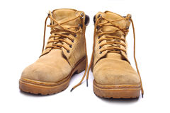 Pair of old yellow boots Royalty Free Stock Photos
