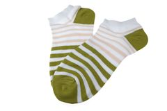 Pair Olive And RoseStriped Ladies Socks Stock Photo