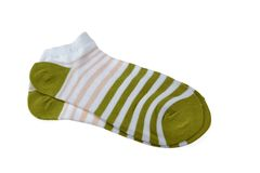 Pair Olive And RoseStriped Ladies Socks Royalty Free Stock Images
