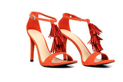 Pair of Orage High Heel Shoes Isolated on White stock photo