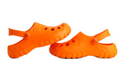 A pair of orange beach slippers each Royalty Free Stock Photography