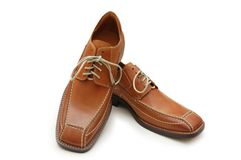 Pair of orange male shoes isol Royalty Free Stock Photography