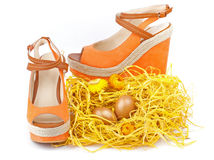 Pair of orange shoes Stock Photos