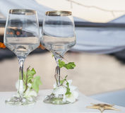 Pair of ornate wine glasses Stock Image