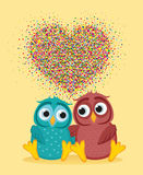 Pair owls in love. Vector. Colorful confetti in the form of heart. A pair of cute owls in love. Vector. Colorful confetti in the form of heart. Greeting card or Royalty Free Stock Photos