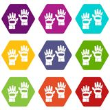 Pair of paintball gloves icon set color hexahedron. Pair of paintball gloves icon set many color hexahedron isolated on white vector illustration Royalty Free Stock Images