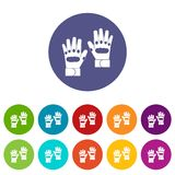 Pair of paintball gloves set icons Stock Photography