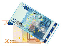 Pair of paper cash. Cash of euro with numbers 20 and 50 on a white background Royalty Free Stock Photos