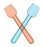 Pair of pastic spoons for ice cream Stock Image