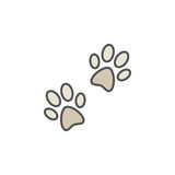 Pair of paw prints colorful icon. Or symbol on white background Royalty Free Stock Photo