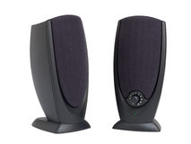 Pair of pc speakers. Pair of black speakers for personal computer isolated on white background royalty free stock photos