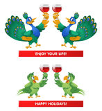 A pair of peacocks and a pair of parrots giving a toast. Enjoy y. Our life! Happy Holidays!  Cartoon styled vector illustration. Elements is grouped and divided Royalty Free Stock Image
