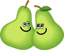 A Pair of Pears. Cute cartoon illustration of a happy fruit pear couple gazing lovingly into each others eyes Stock Images